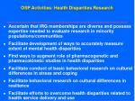 osp activities health disparities research