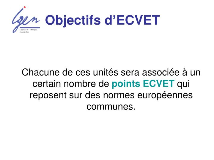 Objectifs d'ECVET