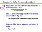 developing your staffing plan lessons learned cont