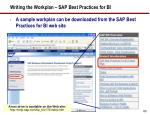 writing the workplan sap best practices for bi