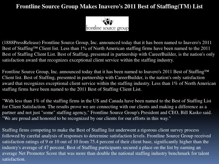 Frontline Source Group Makes Inavero's 2011 Best of Staffing(TM) List