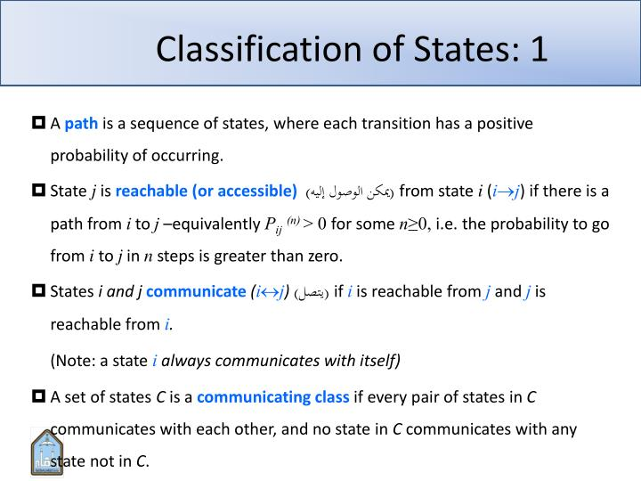 Classification of states 1