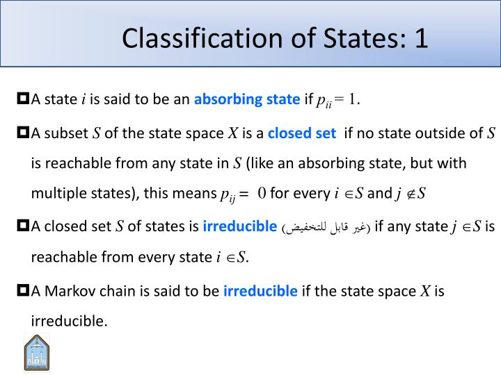 Classification of States: 1