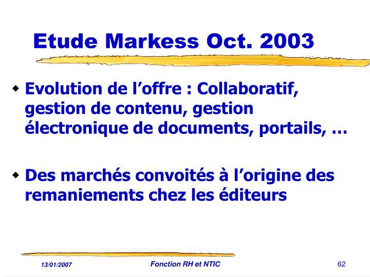 Etude Markess Oct. 2003