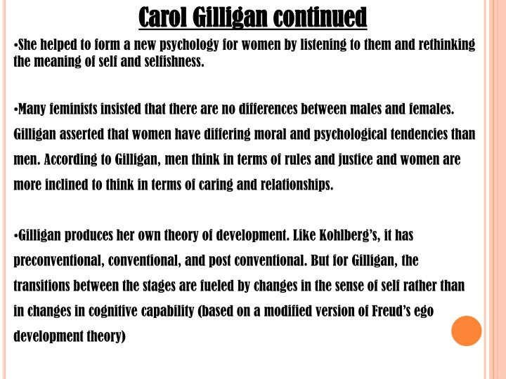 carol gilligan continued