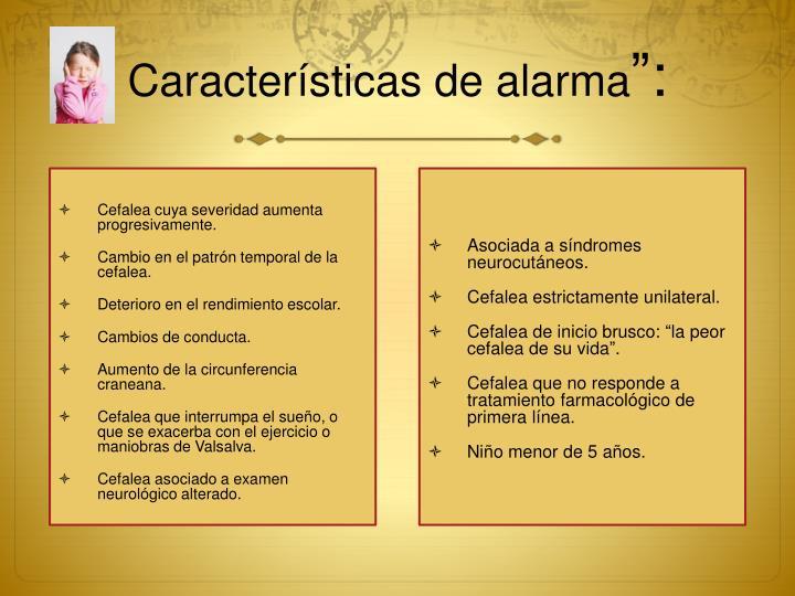 Características de alarma