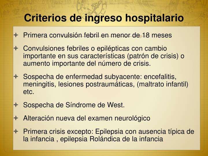 Criterios de ingreso hospitalario