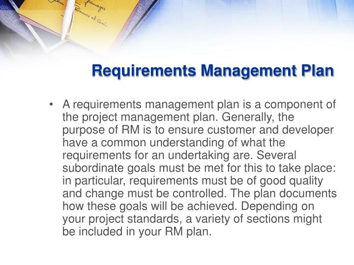 requirements management plan Nasagov brings you the latest images, videos and news from america's space agency get the latest updates on nasa missions, watch nasa tv live, and learn about our quest to reveal the unknown and benefit all humankind.