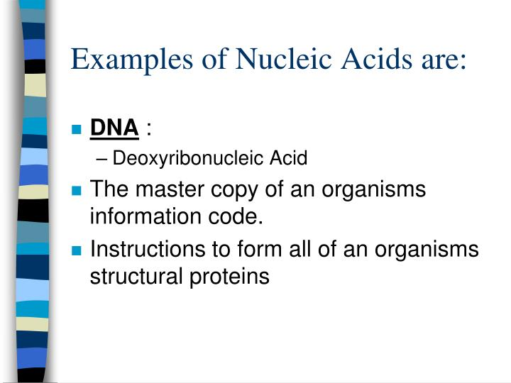 Examples of Nucleic Acids are: