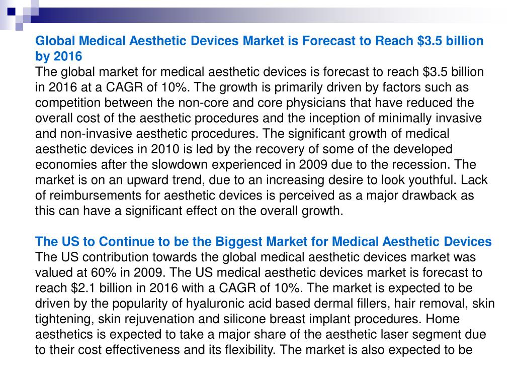 Global Medical Aesthetic Devices Market is Forecast to Reach $3.5 billion by 2016
