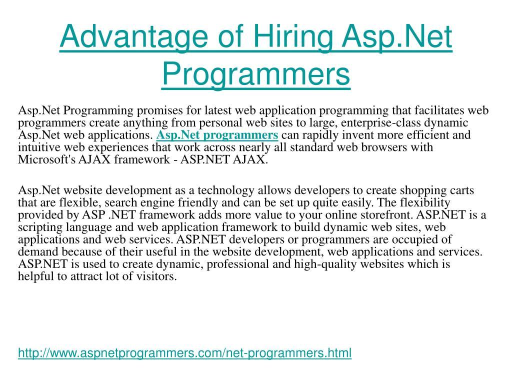 advantage of hiring asp net programmers l.