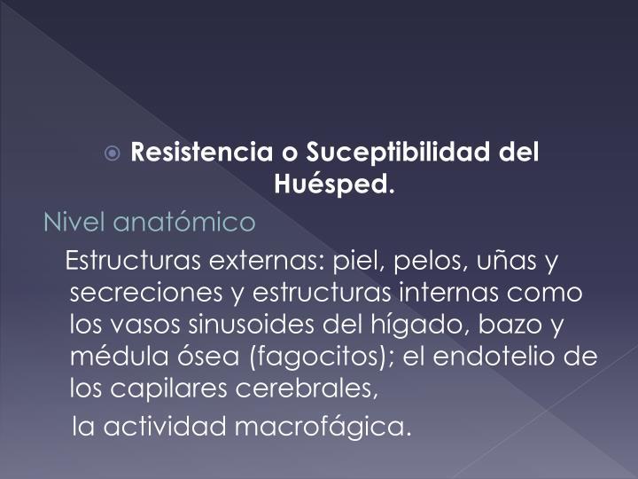Resistencia o Suceptibilidad del Huésped.