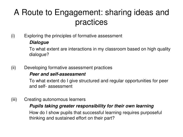 A Route to Engagement: sharing ideas and practices