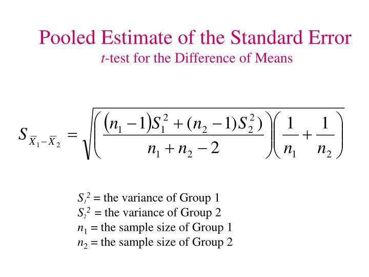 Pooled Estimate of the Standard Error