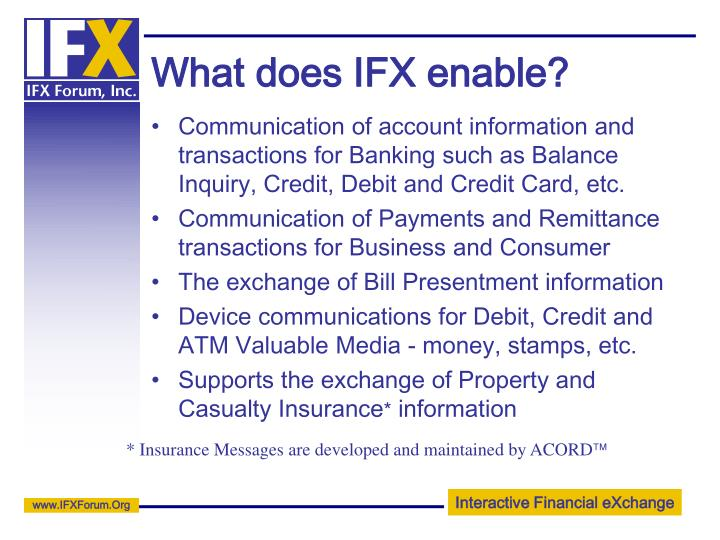 What does IFX enable?