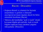 bacon descartes