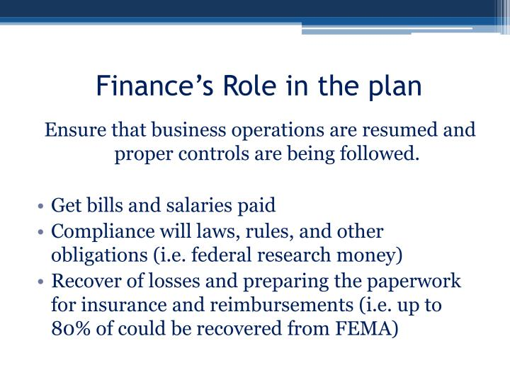 Finance's Role in the plan