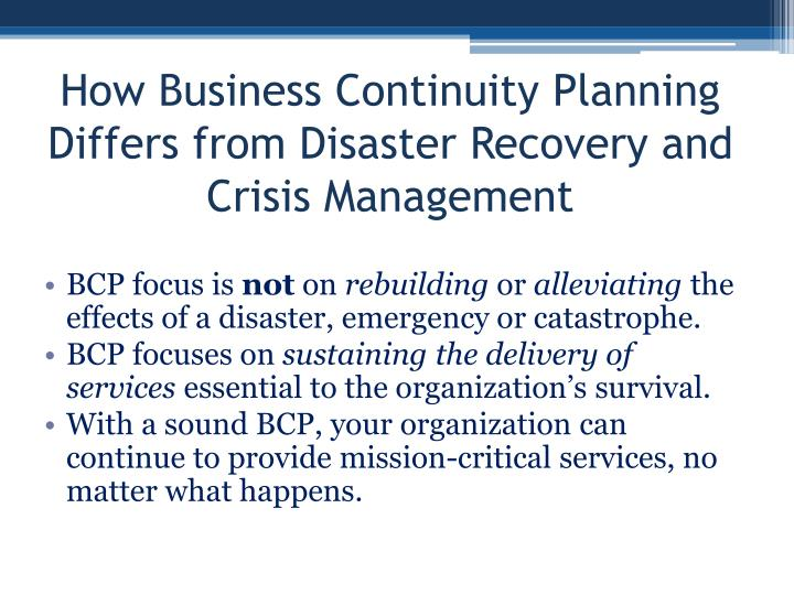 How Business Continuity Planning Differs from Disaster Recovery and Crisis Management
