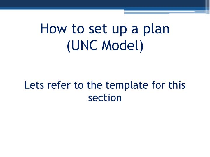 How to set up a plan