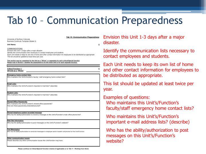Tab 10 – Communication Preparedness