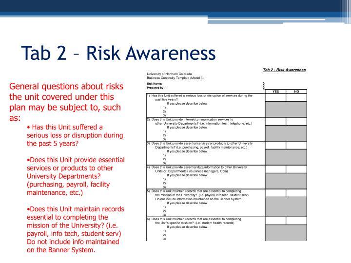 Tab 2 – Risk Awareness