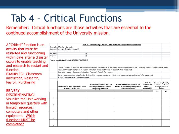 Tab 4 – Critical Functions