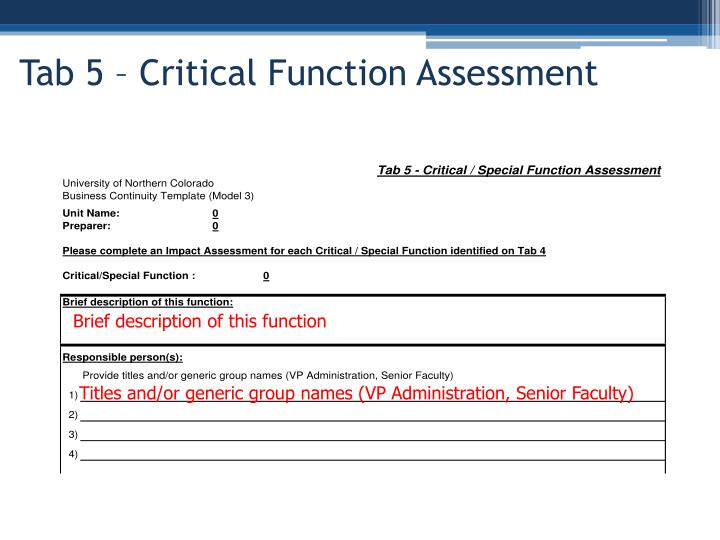Tab 5 – Critical Function Assessment