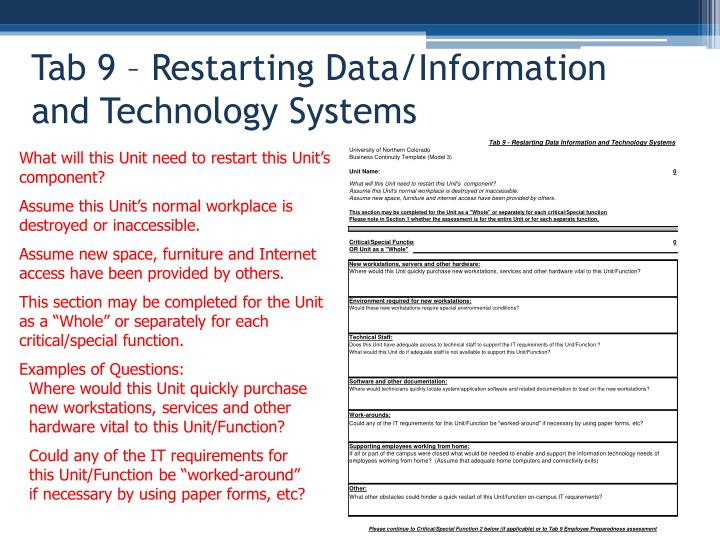 Tab 9 – Restarting Data/Information and Technology Systems