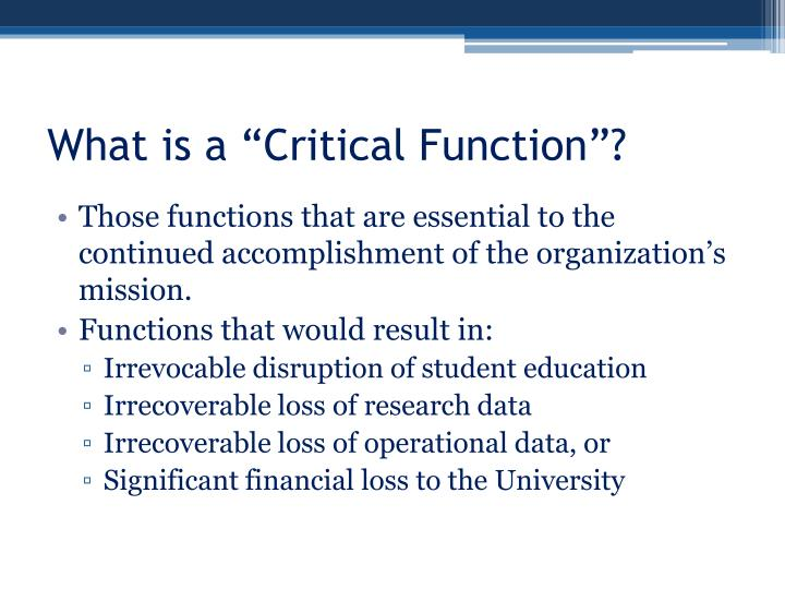 """What is a """"Critical Function""""?"""