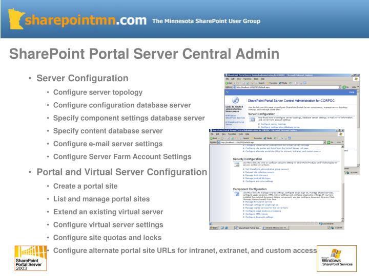 SharePoint Portal Server Central Admin