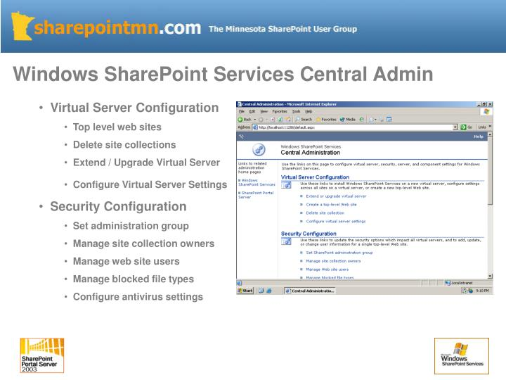 Windows SharePoint Services Central Admin