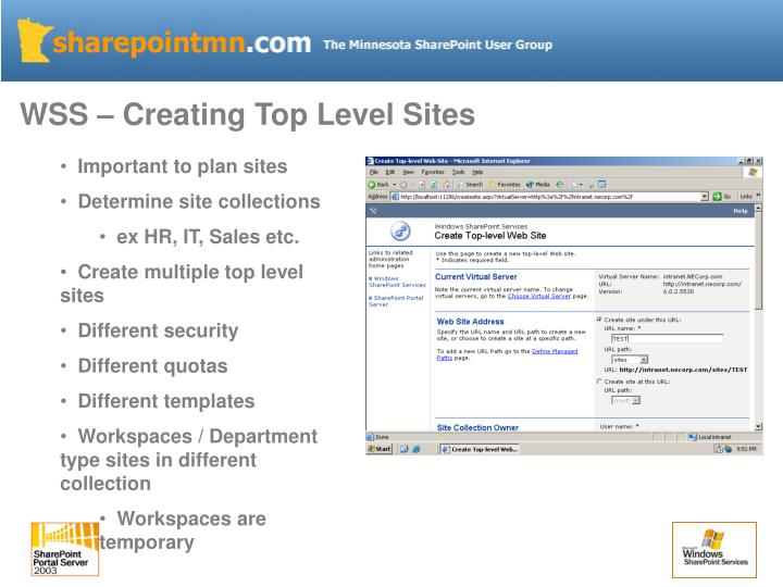 WSS – Creating Top Level Sites