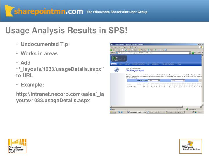 Usage Analysis Results in SPS!