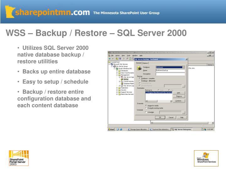 WSS – Backup / Restore – SQL Server 2000