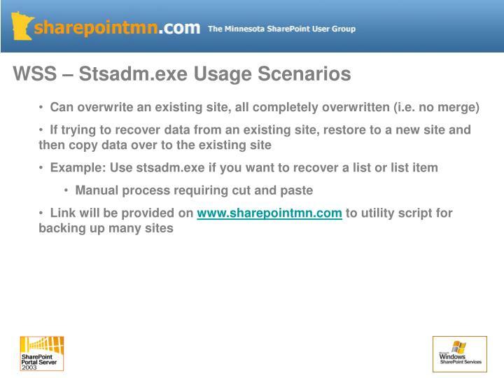 WSS – Stsadm.exe Usage Scenarios