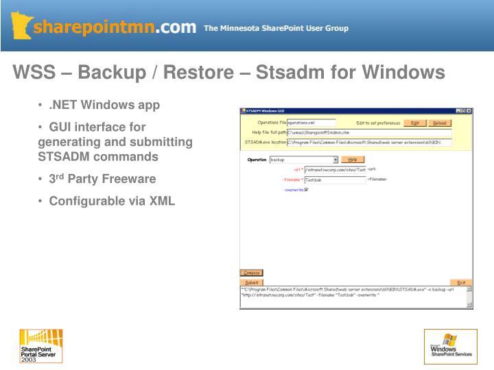 WSS – Backup / Restore – Stsadm for Windows