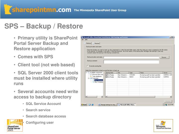 SPS – Backup / Restore