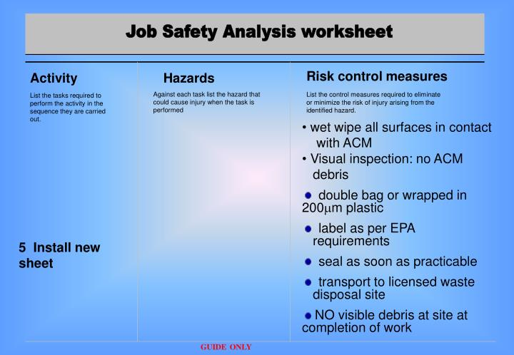 job safety analysis Job hazard analysis an important tool for identifying and reducing hazards in any industry what is a job hazard analysis a job hazard analysis (jha), also called a job safety analysis (jsa), is a technique to identify the dangers of specific tasks in order to reduce the risk of injury to workers.