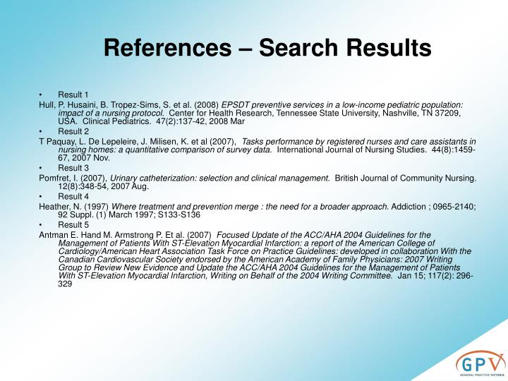References – Search Results