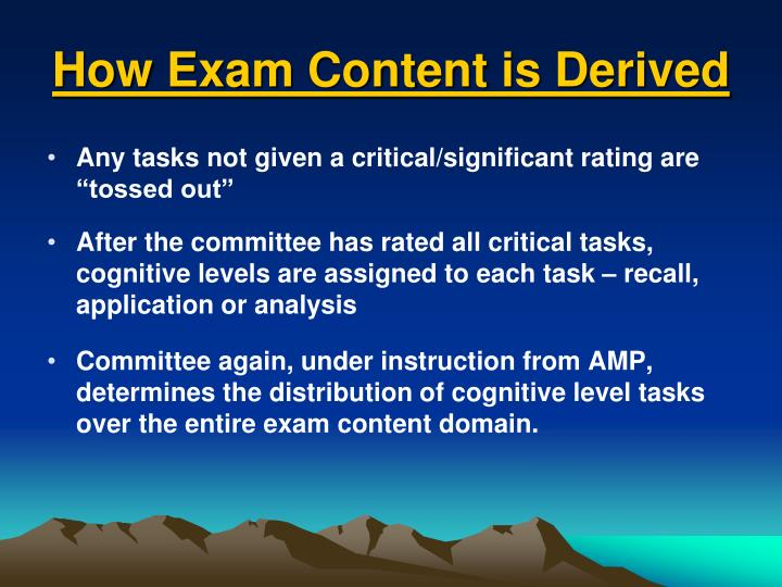 How Exam Content is Derived