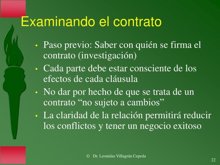 Examinando el contrato