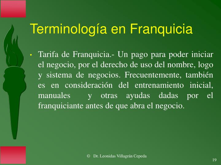 Terminología en Franquicia