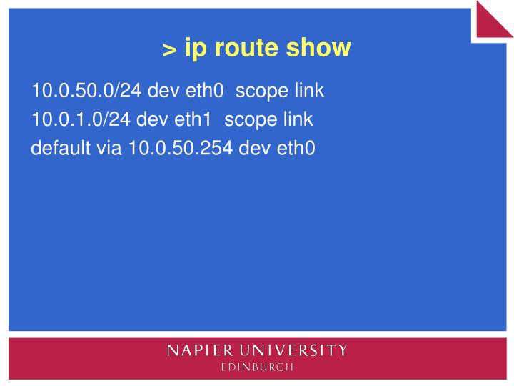 > ip route show