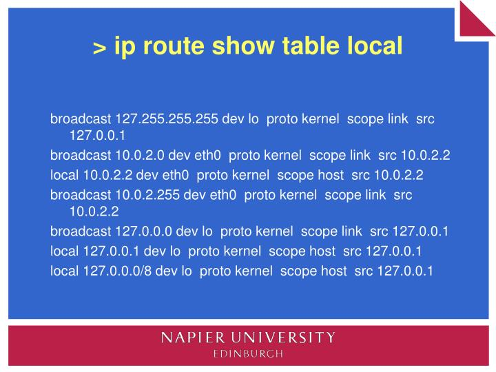 > ip route show table local