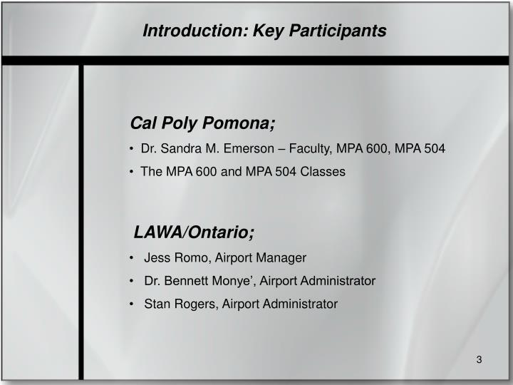 Introduction: Key Participants