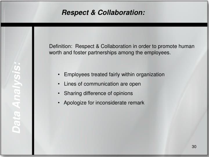 Respect & Collaboration: