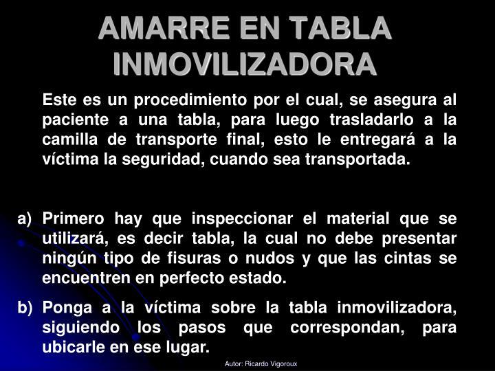 AMARRE EN TABLA INMOVILIZADORA