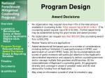 program design award decisions