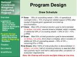 program design draw schedule