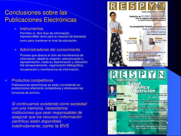 Conclusiones sobre las Publicaciones Electrónicas